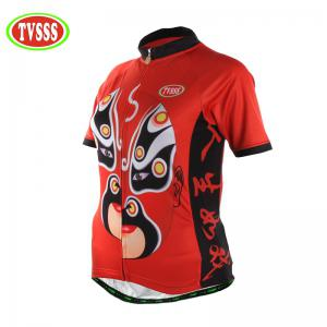 TVSSS Women Summer Short Sichuan Opera Pattern Red Cycling Jersey T-Shirt -