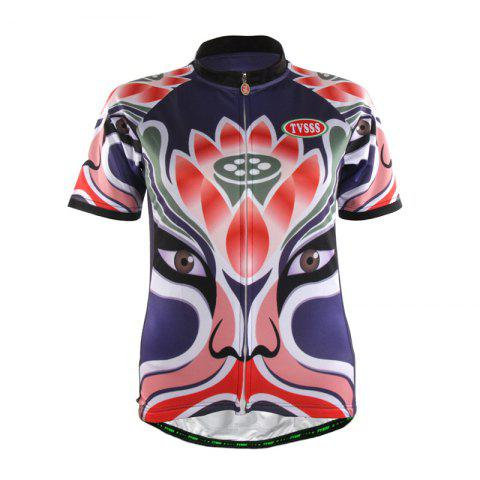 Chic TVSSS Women Summer Short Chinese Opera Mask Lotus Pattern Cycling Sportswear