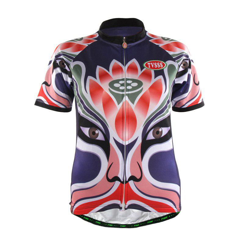 Store TVSSS Women Summer Short Chinese Opera Mask Lotus Pattern Cycling Sportswear