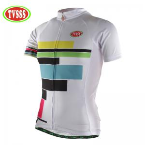 TVSSS Women Summer Short Sleeve Color Stripe Pattern White Cycling Jersey Suit -