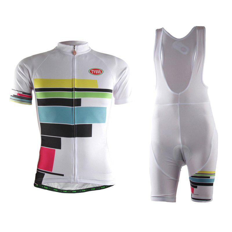 New TVSSS Women Summer Short Sleeve Color Stripe Pattern White Cycling Jersey Suit