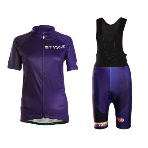 Affordable TVSSS Women Summer Short Sleeve Blue Cycling Jersey Suit