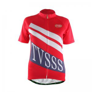 TVSSS Women Summer Short Sleeve White Twill Pattern Red Cycling Suit -