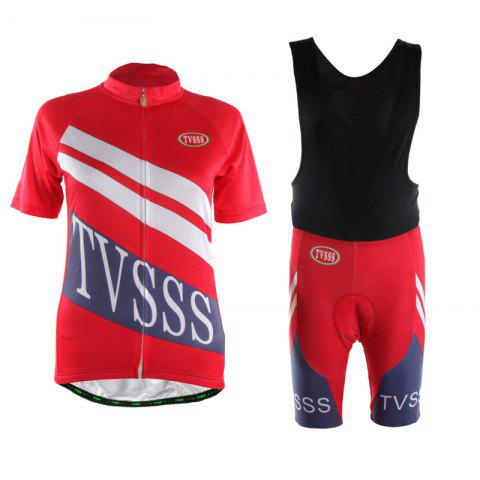Unique TVSSS Women Summer Short Sleeve White Twill Pattern Red Cycling Suit