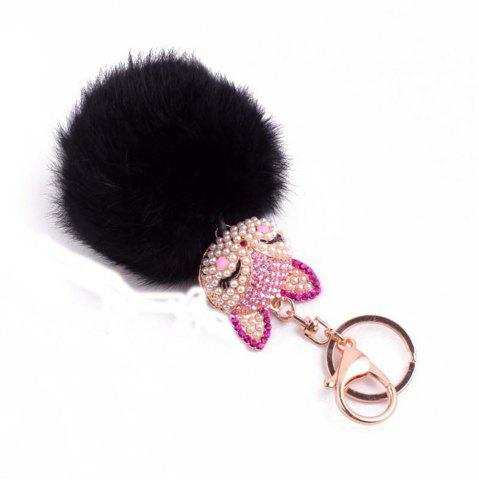 Trendy Rhinestone Fox Head 8CM Rabbit Fur Ball Key Chain Car Pendant