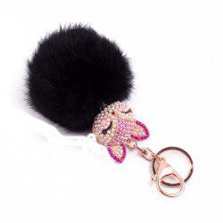 Rhinestone Fox Head 8CM Rabbit Fur Ball Key Chain Car Pendant -