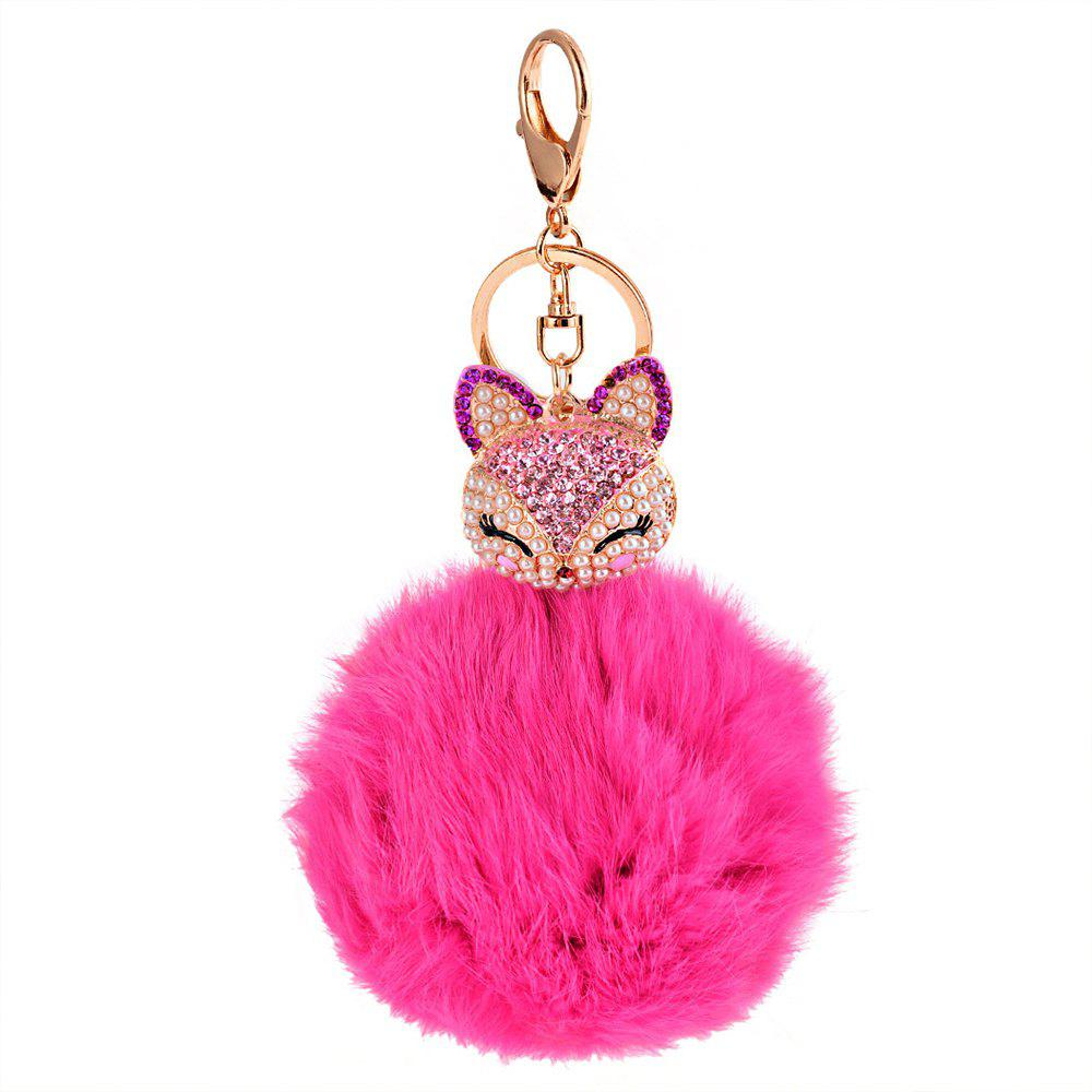 Shop Rhinestone Fox Head 8CM Rabbit Fur Ball Key Chain Car Pendant