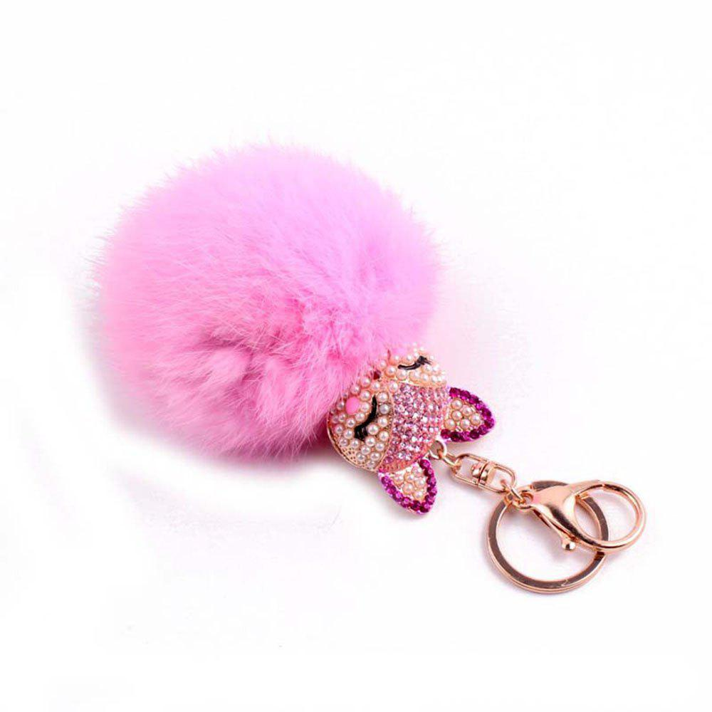 Online Rhinestone Fox Head 8CM Rabbit Fur Ball Key Chain Car Pendant