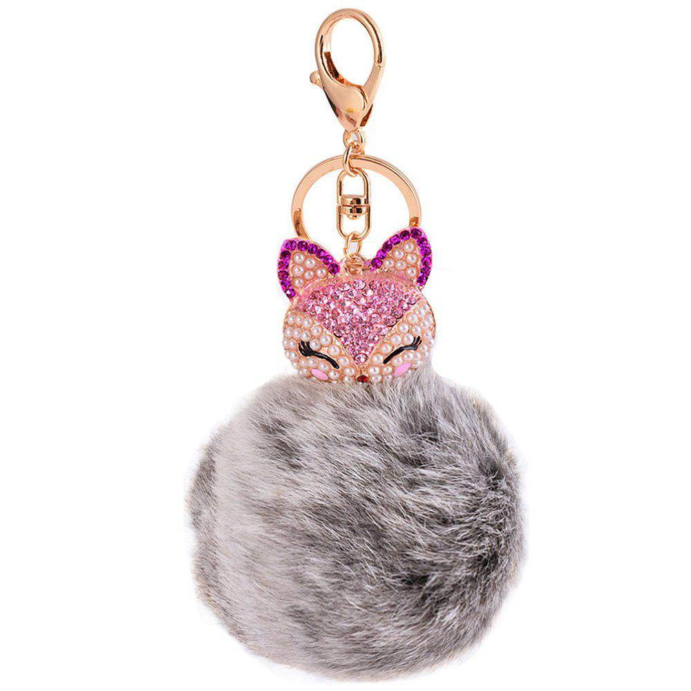 Rhinestone Fox Head 8CM Rabbit Fur Ball Key Chain Car Pendant