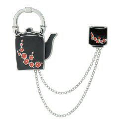 Enamel Teapot and Cup with Chain Pattern Brooches -