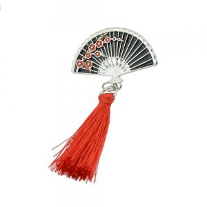 Enamel Sector Pattern Brooches with Red Tassel -