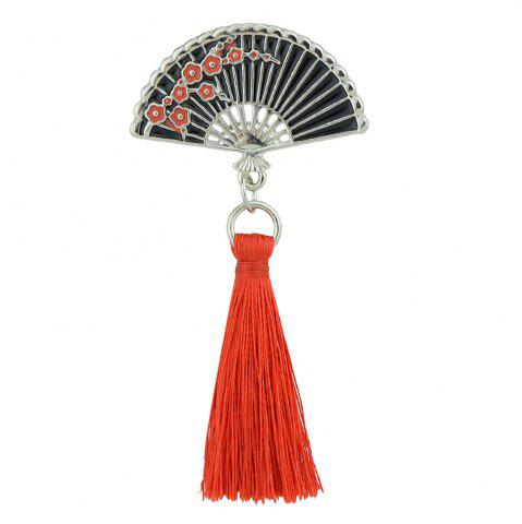 Cheap Enamel Sector Pattern Brooches with Red Tassel