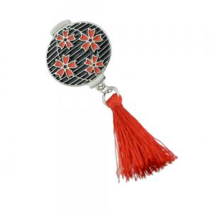 Enamel Lantern Pattern Brooches with Red Tassel -