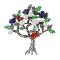 Simulated-pearl Green Enamel Bird Tree Shape Brooch -