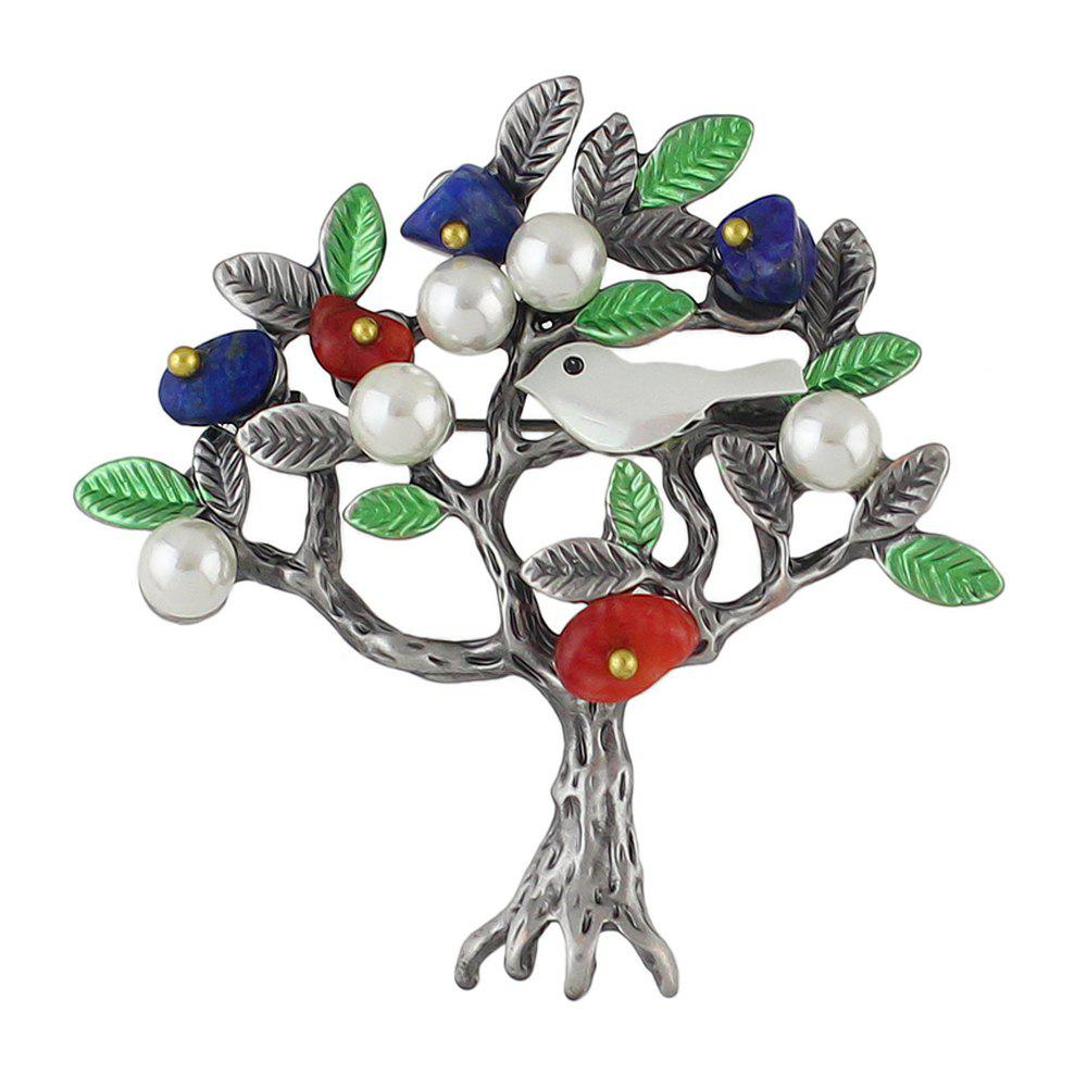 New Simulated-pearl Green Enamel Bird Tree Shape Brooch