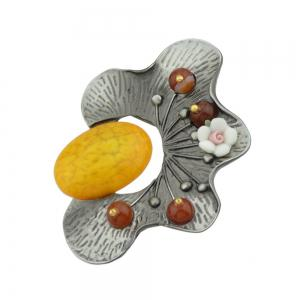 Yellow Red Green Resin Beads Flower Brooch -