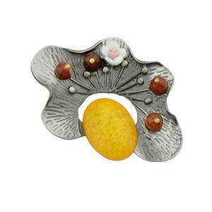 Yellow Red Green Resin Beads Flower Brooche -