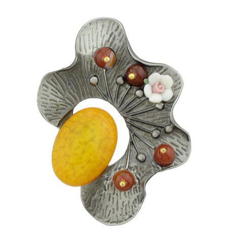 Outfits Yellow Red Green Resin Beads Flower Brooch