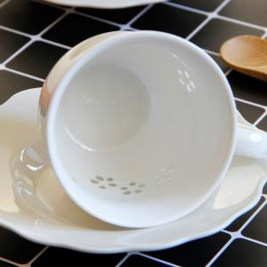 Modern European Style Flower Pattern Ceramic Coffee Cup and Saucer Set -