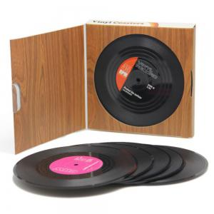 Retro Record Disc Design Drink Vinyl Coasters Non-slip Cup Mats 6PCS -