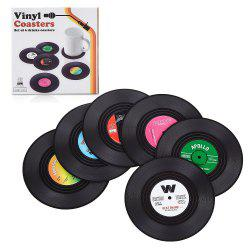 Retro Record Disc Design Drink Vinyl Coasters Non-slip Cup Bottle Mats 6PCS -