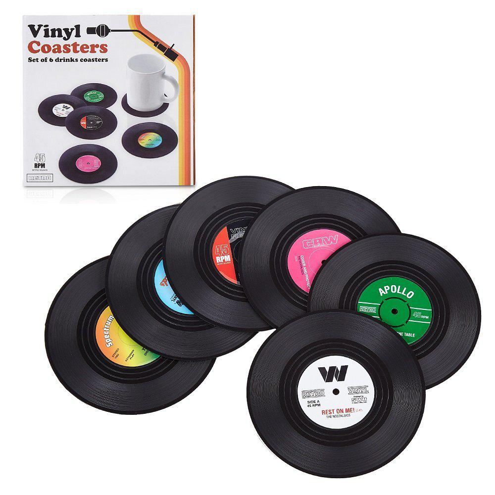 Hot Retro Record Disc Design Drink Vinyl Coasters Non-slip Cup Bottle Mats 6PCS