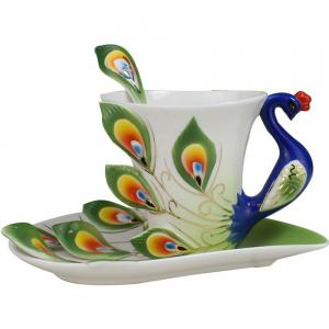 Hand Crafted Ceramic Porcelain Enamel Graceful Peacock Coffee Cup -