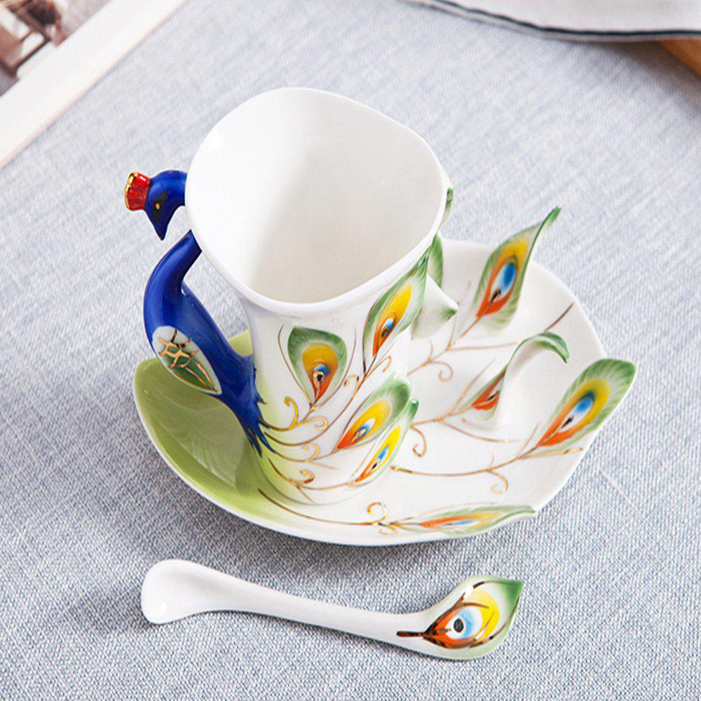 New Hand Crafted Ceramic Porcelain Enamel Graceful Peacock Coffee Cup