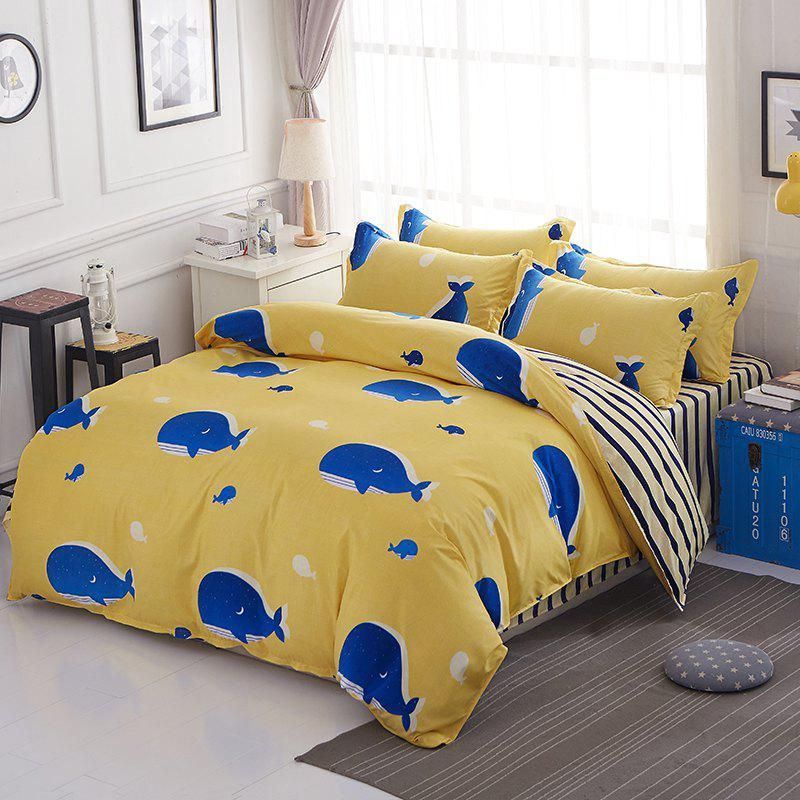 New South Cloud  Bedding Cover Set Lovely Cartoon Dolphins Pattern Cosy Home