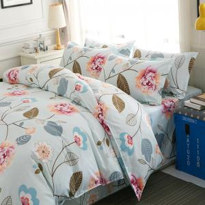 Bedsheet  Pastoral Style Bright Flowers Pattern Soft Bedding Set -