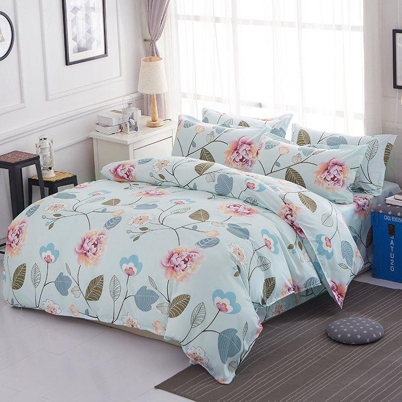 Cheap Bedsheet  Pastoral Style Bright Flowers Pattern Soft Bedding Set