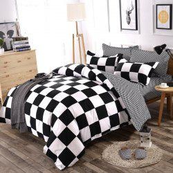 Bedding Classic Black White Checked Pattern Comfy Quilt Set -