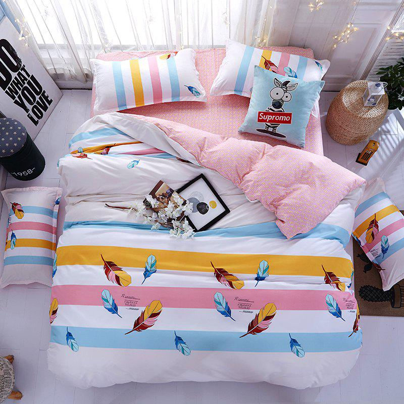 Fashion Bedlinens  Modern Colorful Striped Feather Pattern Soft Bedding Set