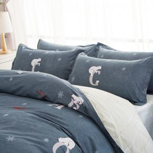 Bedsheet Suit Simple Solid Creative Letters Pattern Soft -