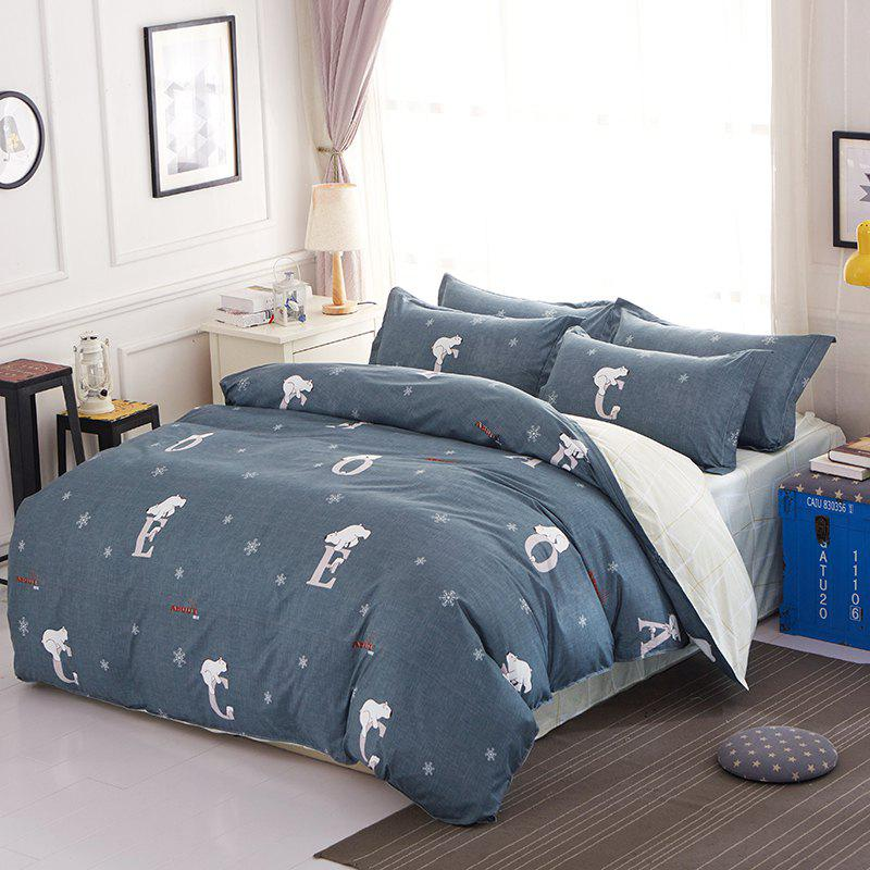 Fashion Bedsheet Suit Simple Solid Creative Letters Pattern Soft