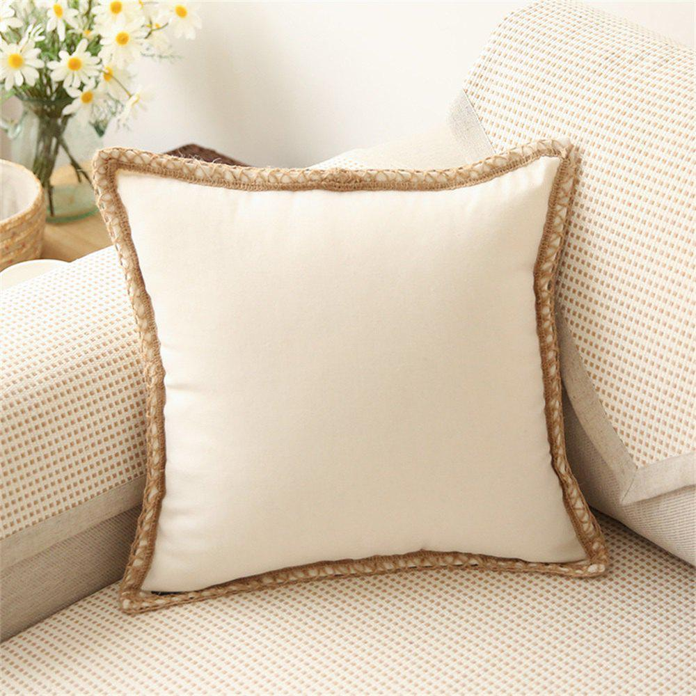 Hot Simple Cotton And Hemp Sofa Lace Pure Color With No Core Pillowcase