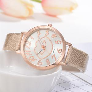 XR2513 Women's Arabic Numerals Analog Quartz Leather Watch with Lips Dial -