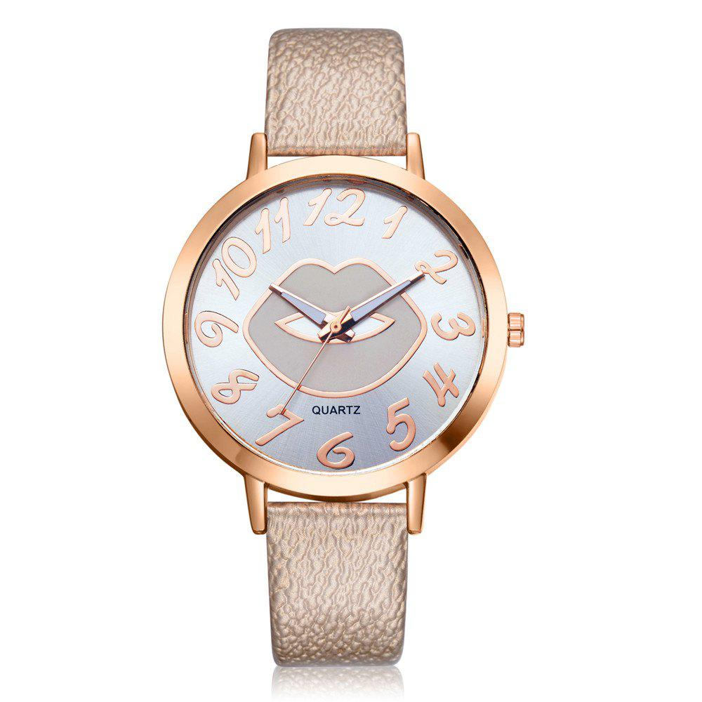 Outfit XR2513 Women's Arabic Numerals Analog Quartz Leather Watch with Lips Dial
