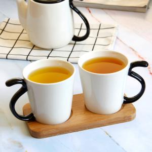 Delicate European Style Ceramic Teapot Cups with Tray Kit Drinkware Set 4 PCS -