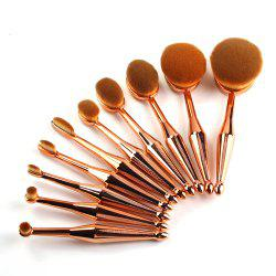 TODO 10pcs Mermaid Arrow Handle Oval Makeup Puff Brush Set -