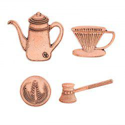Coffee Cup Series Hand Pot of Filter Coffee Appliances Brooch Set -