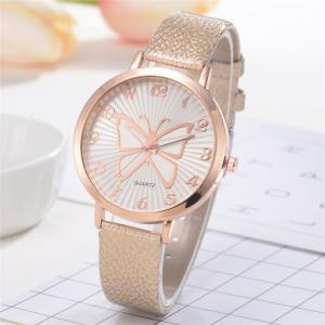 XR2512 Women's Arabic Numerals Analog Quartz Leather Watch with Butterfly Dial -