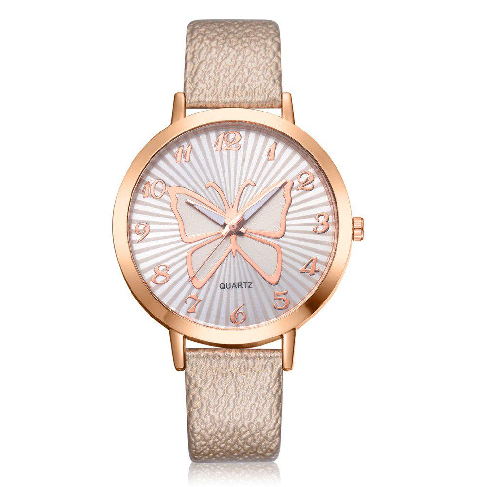 Affordable XR2512 Women's Arabic Numerals Analog Quartz Leather Watch with Butterfly Dial