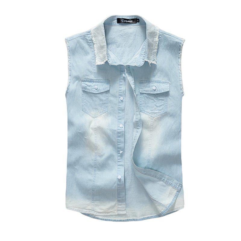 Fancy Men's Waistcoat Cozy Solid Color Sleeveless Denim Coat