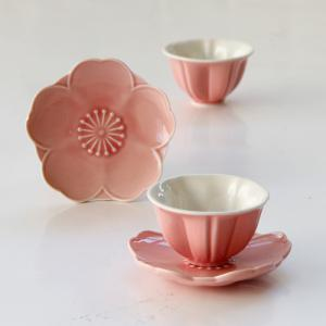 Creative Pink Cherry Flower Shaped Ceramic Tea Cup Set -