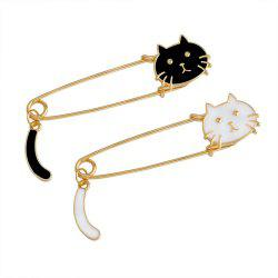 Fashion Black White Cats Kitten Face Tail Brooch 2pcs -