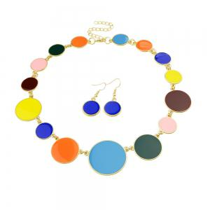 Colorful Enamel Geometric Round Collar Necklace and Earrings -