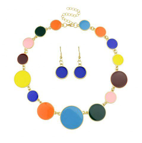 Buy Colorful Enamel Geometric Round Collar Necklace and Earrings