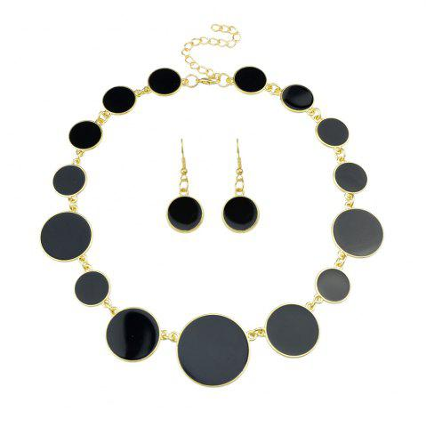 Trendy Colorful Enamel Geometric Round Collar Necklace and Earrings