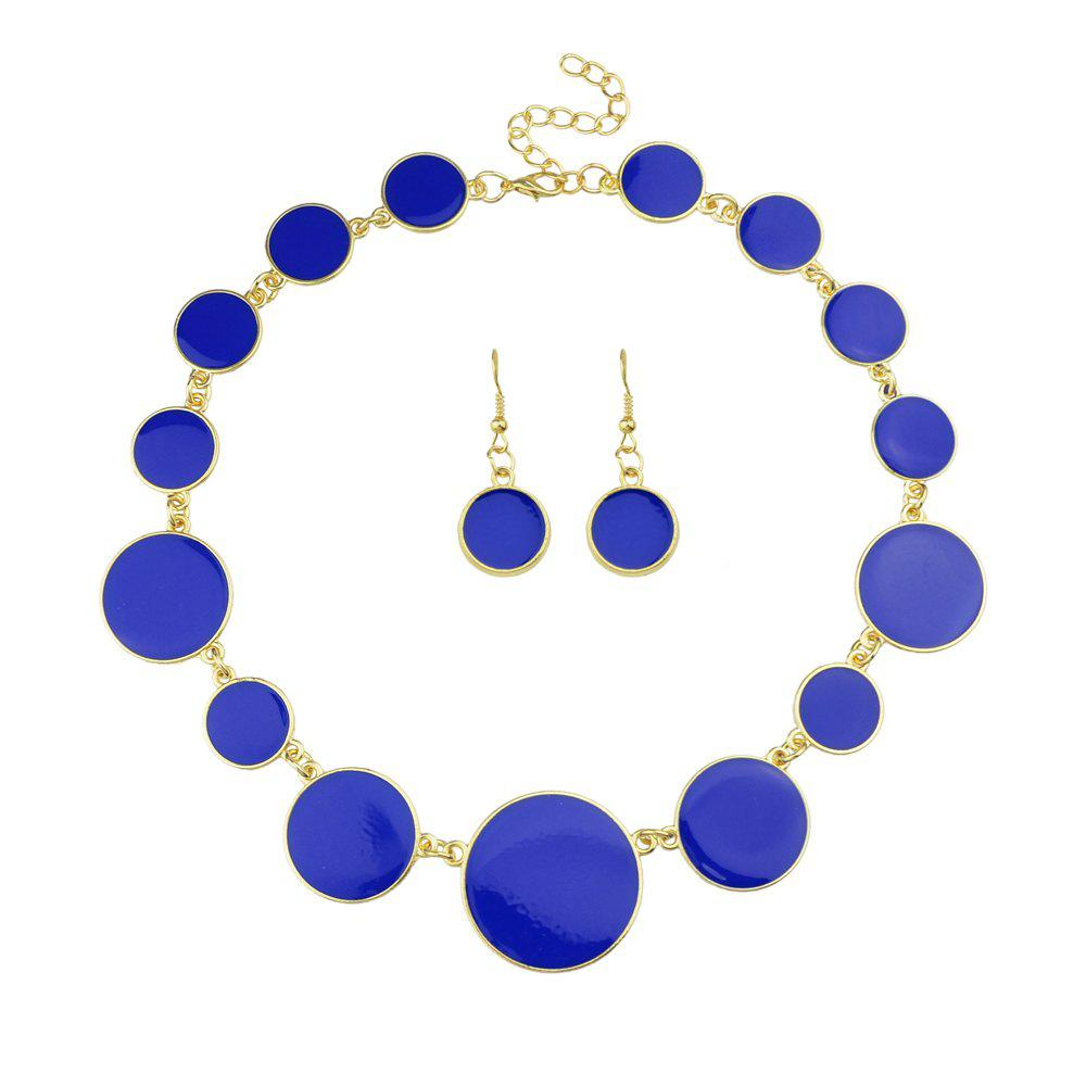 Discount Colorful Enamel Geometric Round Collar Necklace and Earrings